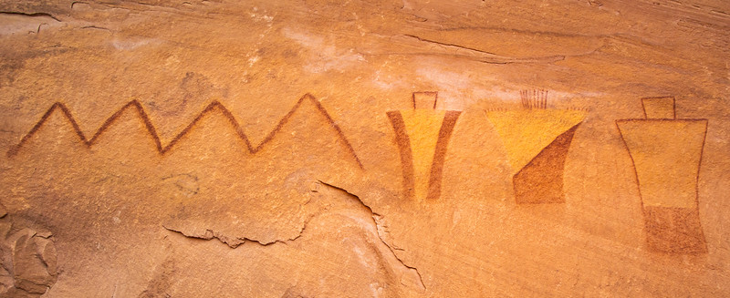 Fremont anthropomorphs in red and yellow pigment, Greater San Rafael Swell, Utah