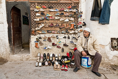 A shoe-seller's make-shift shop in Fes, Morocco.