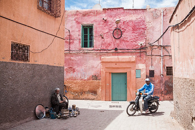 A street scene from Marrakesh, Morocco.