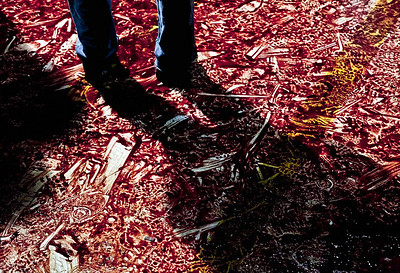 Blood stains left after the ma'tam ritual of the Arbaeen mourning observances during which some participants self-inflict injuries as a show of solidarity with the Imam Hussein. Taken in Nabatea, South Lebanon in 2009.