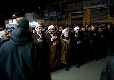 Hezbollah officials lead a march through the city of Nabatea in Southern Lebanon during the 2009 Arbaeen observances. Arbaeen commemorates the 40th day following the death of the Shia Imam Hussein during the Battle of Karbala which took place in 680 AD.
