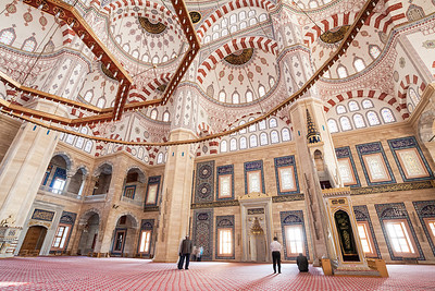 Interior of the Sabancı Merkez Camii, the largest mosque in Turkey, located in Adana.