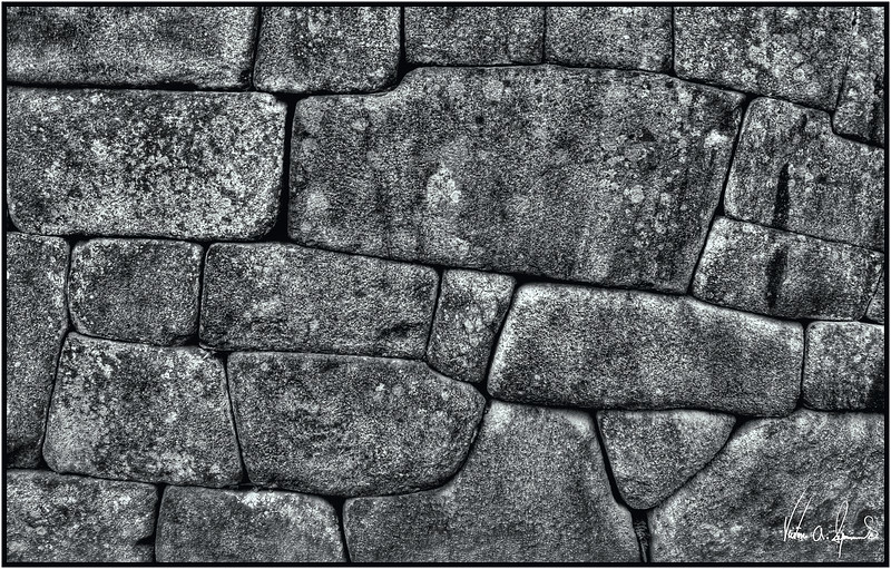 """MACHU PICCHU STONE WORK"" (HDR) - INCA STONE WALL AT MACHU PICCHU IN PERU IN THE LATE AFTERNOON ON NOVEMBER 16, 2011"