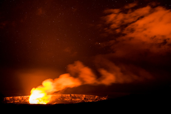 Stars over Halema'uma'u crater, Volcanoes National Park, Hawaii