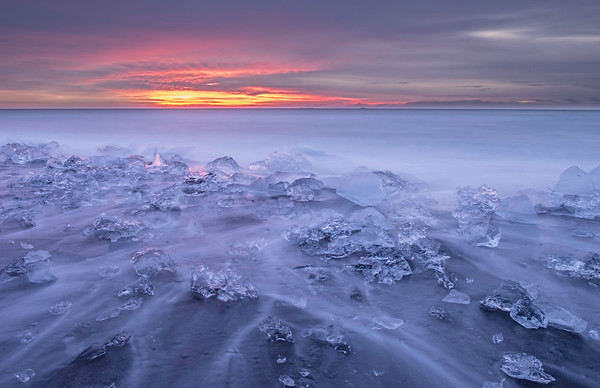 """Sunrise on the rocks"", Jokulsarlon Beach, Iceland"