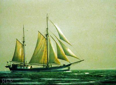 Lowestoft UK, Ship in Round England race. 1989