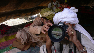 Afghan nomads with my camera, Pakistan