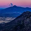 Sierra San Jose, View of US-Mexico border wall from Coronado National Memorial, Huachuca Mountains, Cochise County, Arizona and Sonora, Mexico