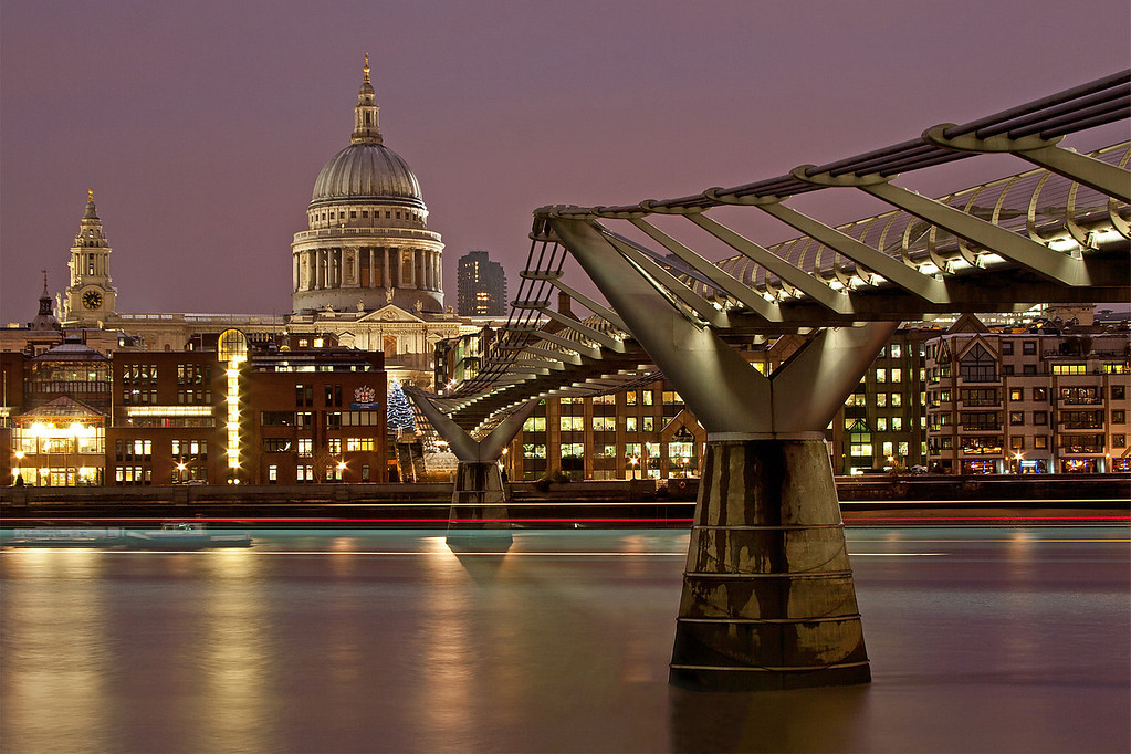 St. Pauls Cathedral and Millenium Bridge in Twilight