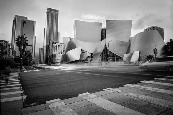 Walt Disney Concert Hall Sunset BW