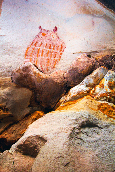 Fremont polychrome owl pictograph, Utah