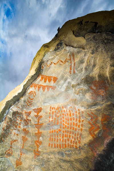 Fremont abstract pictographs in boulder alcove, Utah