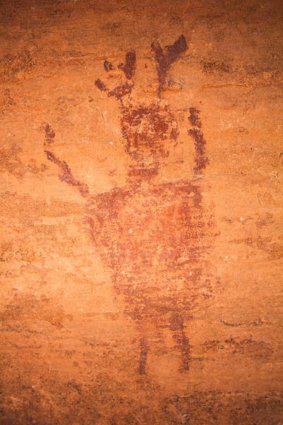 Horned anthropomorph, Barrier Canyon Style pictographs, Utah