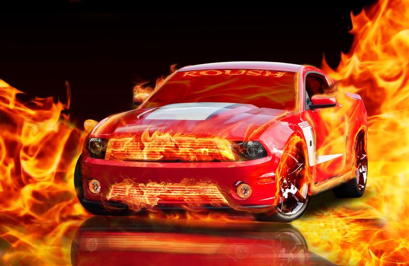 Roush on Fire! Hott!! -  Digital Composite by Leman's Studios - *Photo by DeeDee Niederhouse-Mandrell - www.visualjourneysstudios.com