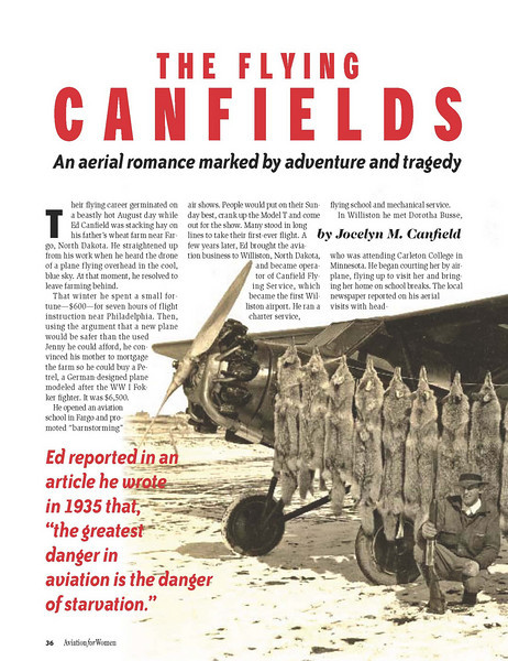 Feature story in Aviation for Women magazine.