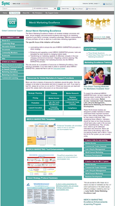 """{To view in a larger size, hover over the image above and click on """"Original Size""""; hit close in the upper right to return to this gallery.}   Screen capture of a SharePoint community page I designed/developed for Merck Marketing Excellence. This group had significant Knowledge Management needs that were addressed temporarily by the grid of topic areas you see in the center of the page. Not the permanent solution visually, this grid linked to a business-critical collection of more than 100 resources, links and contacts. Up until this point, people all over the globe just had to know these resources existed and ask around to find them as there was no single place to go to find this information."""