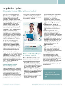 Siemens Medical Solutions sales force newsletter article