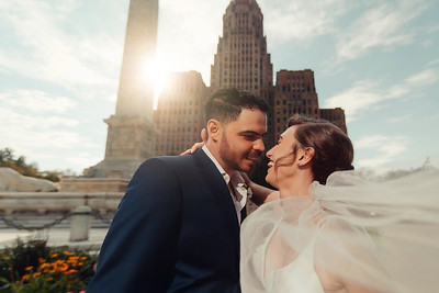 Buffalo wedding couple at Buffalo City Hall