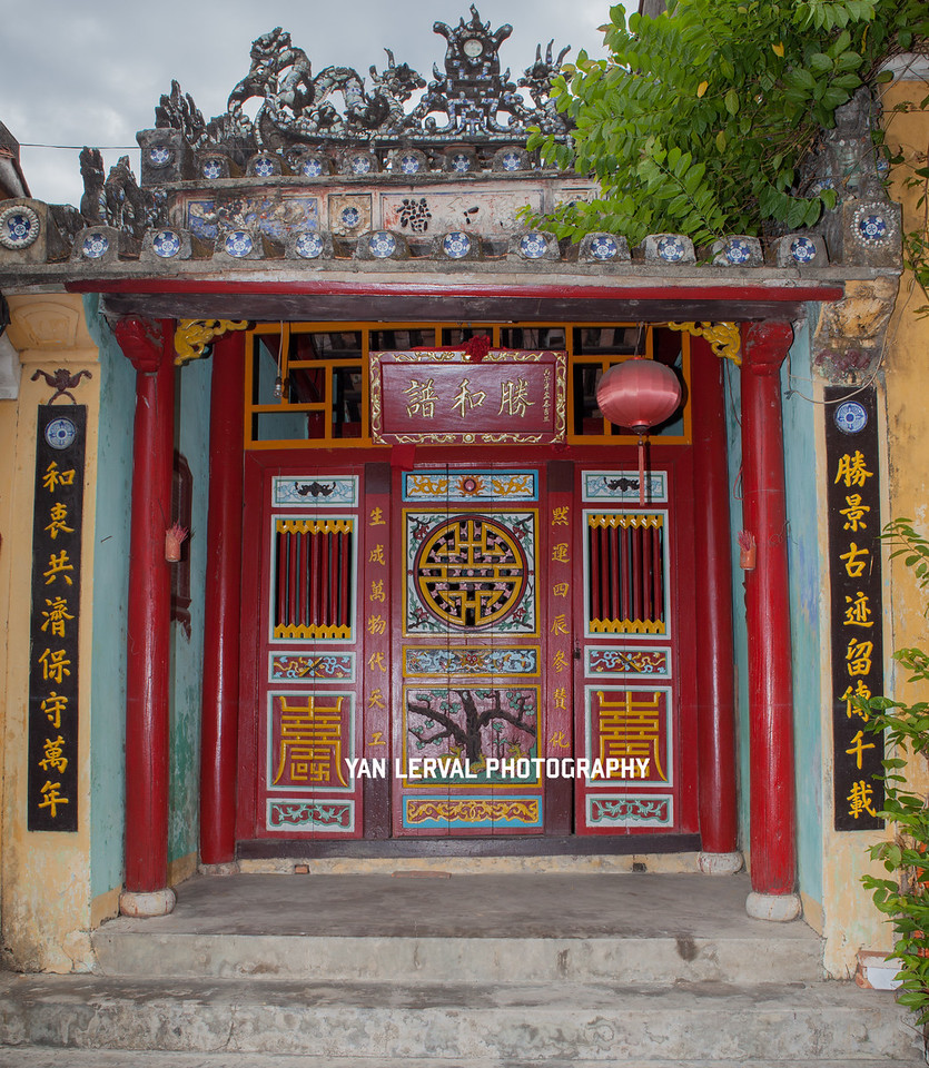 Entrance door of a chinese pagoda in Hoi An, Vietnam