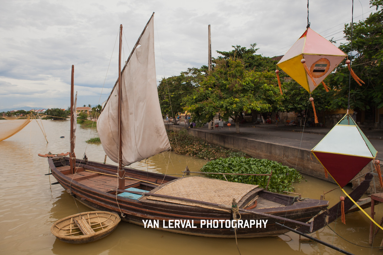 Boat on Thu Bon River in Hoi An, Vietnam