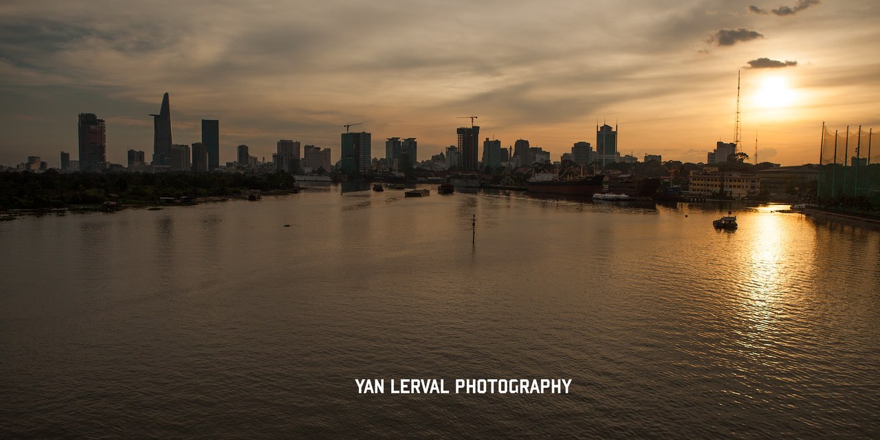 Sunset on Saigon River, Ho Chi Minh City, Vietnam