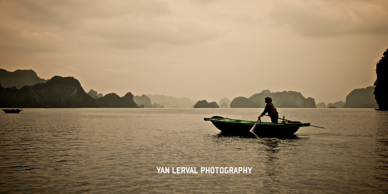 Rowing in Halong Bay, Vietnam