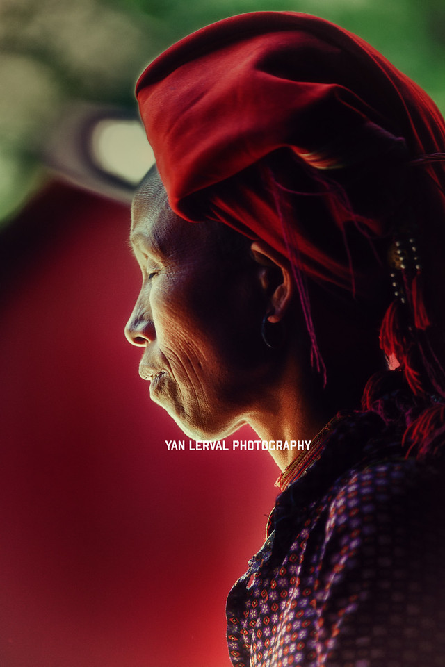 Profile portrait of Red Dao woman, Vietnam
