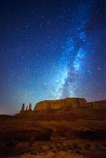 The Three Sisters and Mitchell Mesa, Navajo Tribal Park, Monument Valley, Az