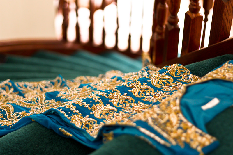 Detail of Zuli's reception dress.