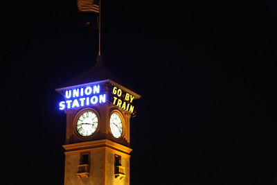A shot of the Portland Union Station tower.