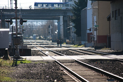 Mainline Union Pacific line through south east Portland.