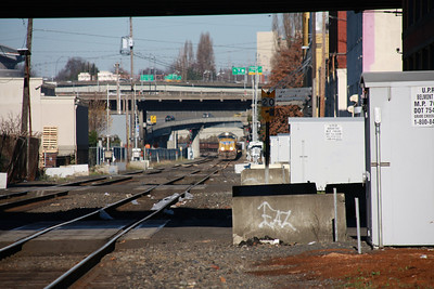 Union Pacific train heading through south east Portland.