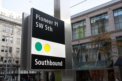 Pioneer Place SW 5th Avenue Southbound MAX Sign.