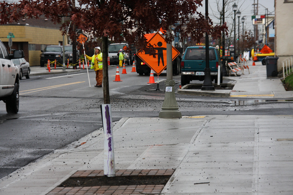 Sidewalk and street enhancements on Killingsworth.  The up and coming north east Portland is definitely coming along.