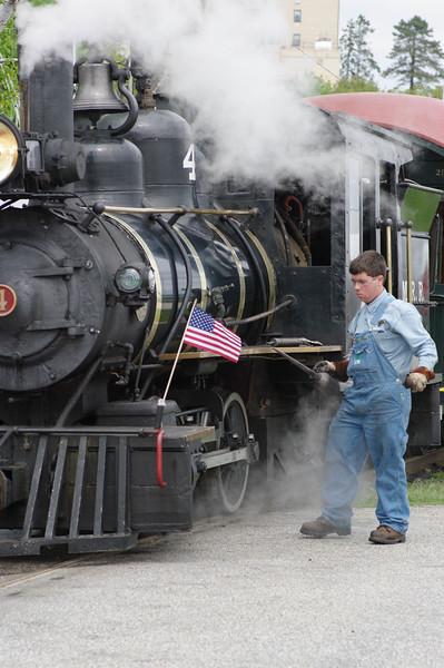 Train Man Tending the Steam Engine