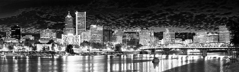 Portland, Oregon Skyline black and white