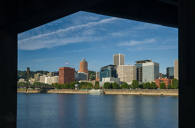 Portland skyline from under the Morrison Bridge Esplanade