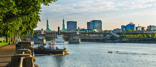 Early morning activity at Portland's riverfront