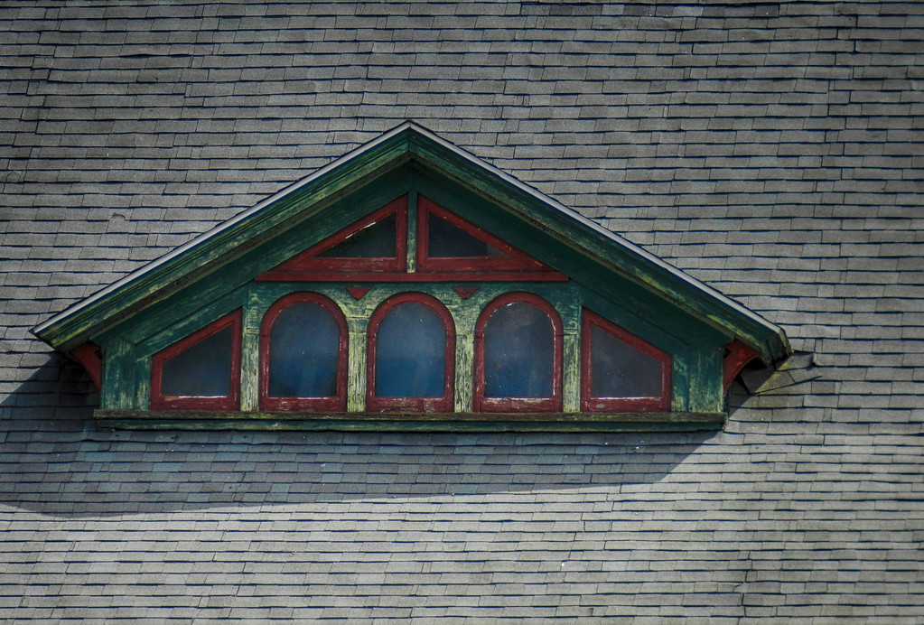 Eyebrow window on the old train station