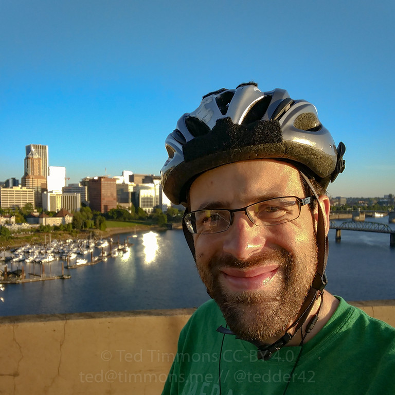Selfie on the Marquam Bridge. Great views of downtown on a pretty day.