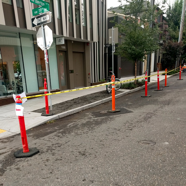 Reserved bike lane. It is narrow but short enough that negotiating oncoming cyclist traffic is easy.