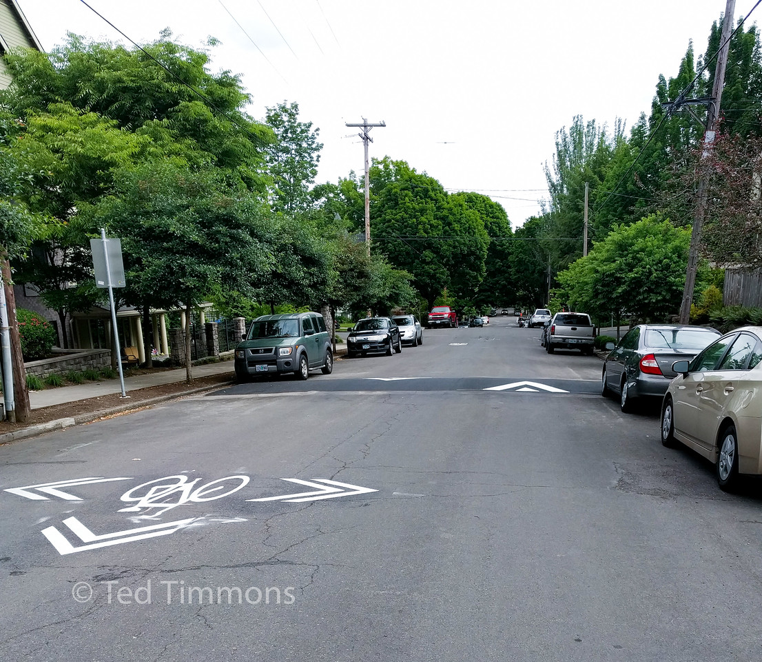 New speed bumps and repainted arrows on the 20s bikeway.