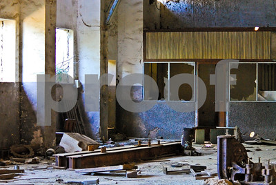 Abandoned Peñarroya administration building interior at Portmán, Murcia