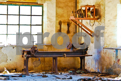 Abandoned Peñarroya workshop interior at Portmán, Murcia