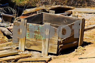 Wooden crates at abandoned Peñarroya sit at Portmán, Murcia
