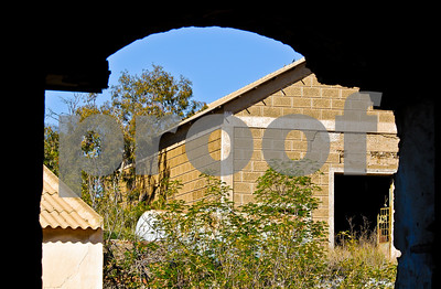 Abandoned Peñarroya workshop buildings at Portmán, Murcia