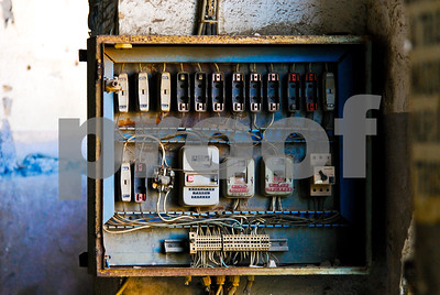 Abandoned Peñarroya workshop fuse box at Portmán, Murcia