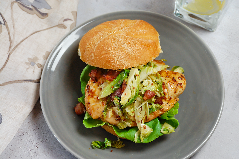 Maple Mustard Chicken Sandwich with Brussels Sprout Slaw