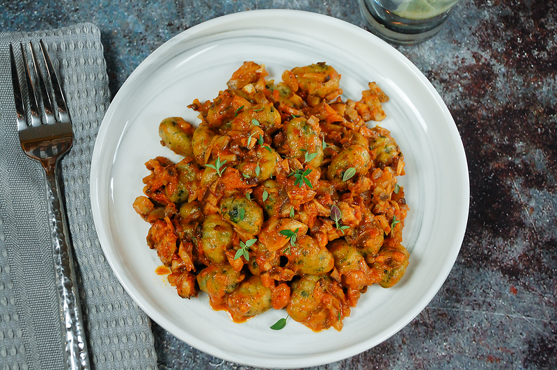 Spinach Gnocchi with Mushroom Bolognese - PNG