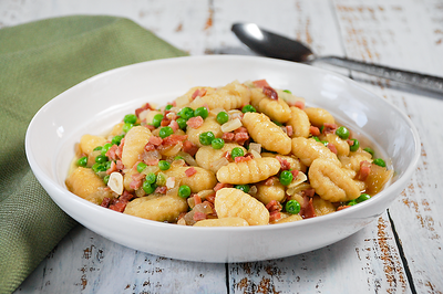 Cauliflower Gnocchi with Pancetta and Peas - PNG